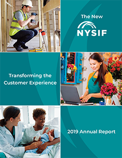 Cover image of 2019 Annual Report showing construction worker, small business owner and PFL cliamant