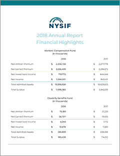 Financial highlights page image link to NYSIF 2018 Financial Statements