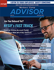 Cover link to NYSIF first quarter 2018 Workers Comp Advisor flipbook newsletter